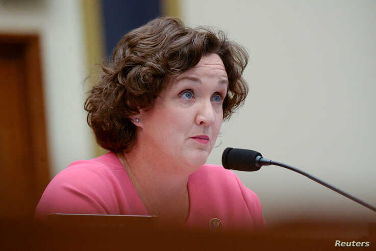 Rep. Katie Porter, a Democrat from California, participates in a House Financial Services Committee hearing with Facebook Chairman and CEO Mark Zuckerberg in Washington, D.C., Oct. 23, 2019.