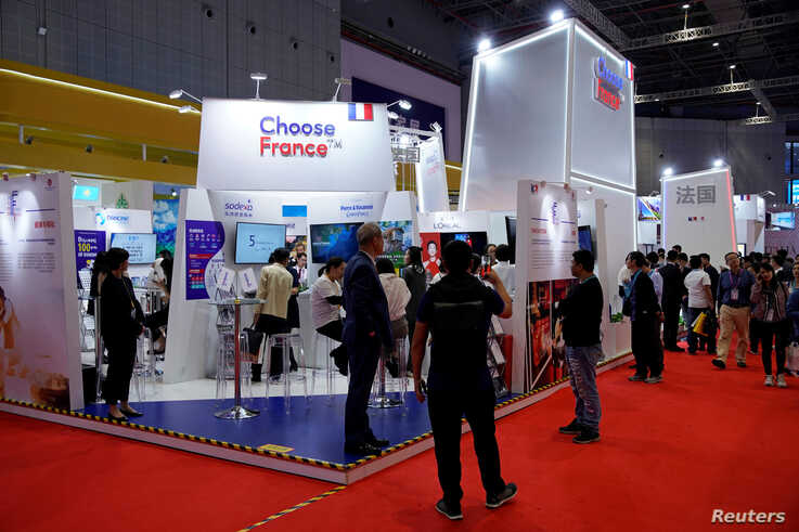 France's exhibition area is seen at the 2nd China International Import Expo (CIIE) in Shanghai, Nov. 6, 2019.