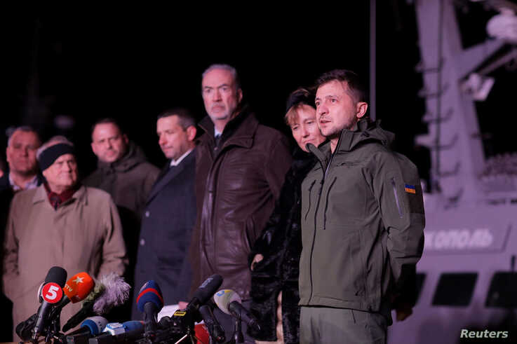 Ukrainian President Volodymyr Zelenskiy visits the port of Ochakiv, Nov. 20, 2019, to see the three Ukraine's naval ships, captured in the Kerch Strait in Nov. 2018 and then returned by Russia.
