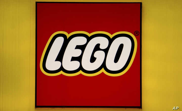 A logo of the Danish toy manufacturer 'LEGO' pictured in Berlin, Germany, Monday, May 6, 2019. (AP Photo/Michael Sohn)