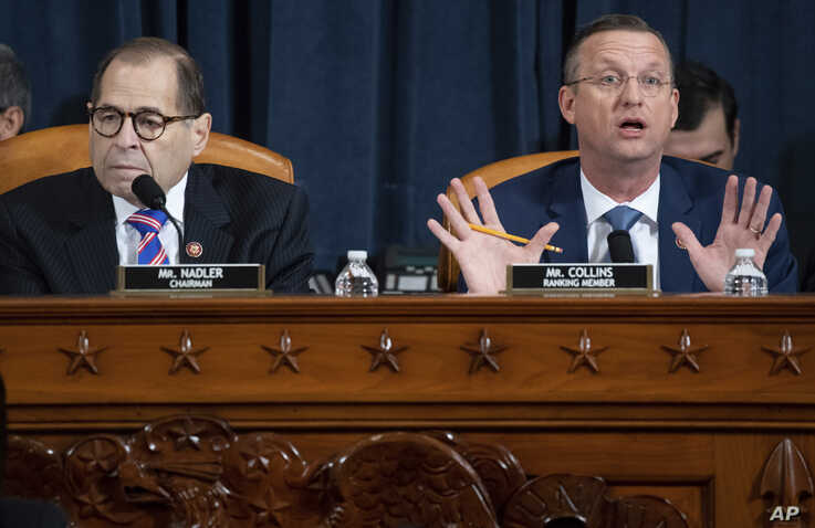 House Judiciary Committee Chairman Rep. Jerrold Nadler, D-N.Y., left, listens as ranking member Rep. Doug Collins, R-Ga.