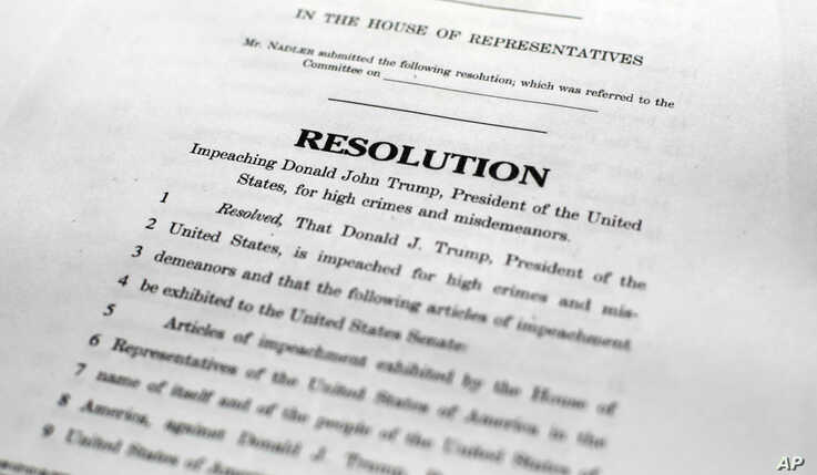 Copy of the Articles of Impeachment, Tuesday, Dec. 10, 2019 in Washington. House Democrats announced they are pushing ahead…