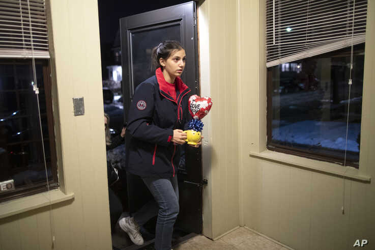 In this Dec. 3, 2019, photo, Jana Hafar arrives home in Bloomfield, N.J. Jana had been forced by President Donald Trump's…