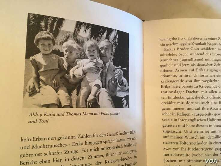A photo of young Frido Mann, left, with his grandparents Katia and Thomas Mann and his younger brother in the 1940s in California is featured in Frido Mann's book The White House of Exile. (Natalie Liu/VOA News)