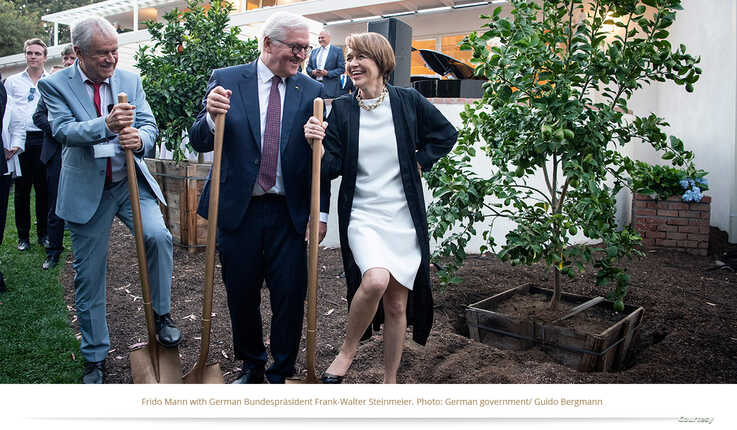 Frido Mann, from left, with German Federal President Frank-Walter Steinmeier and his wife, Elke Büdenbender, at the opening ceremony of the Thomas Mann House in Los Angeles, California, June 2018. (Courtesy Photo)