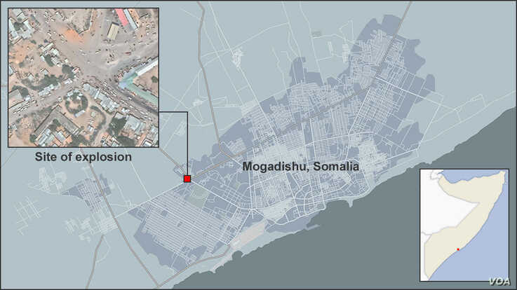 Map of Mogadishu, Somalia, showing the site of the explosion on 12/28/2019