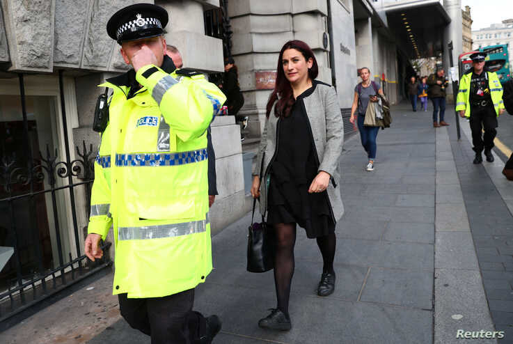 Labour MP Luciana Berger leaves a fringe meeting organised by the Jewish Labour Movement at the annual Labour Party Conference,…