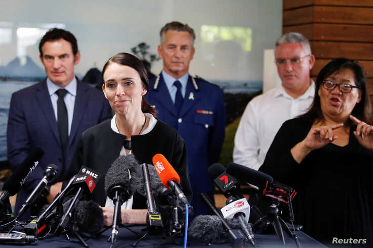 New Zealand's Prime Minister Jacinda Ardern addresses the media in the aftermath of the eruption of White Island volcano, also…
