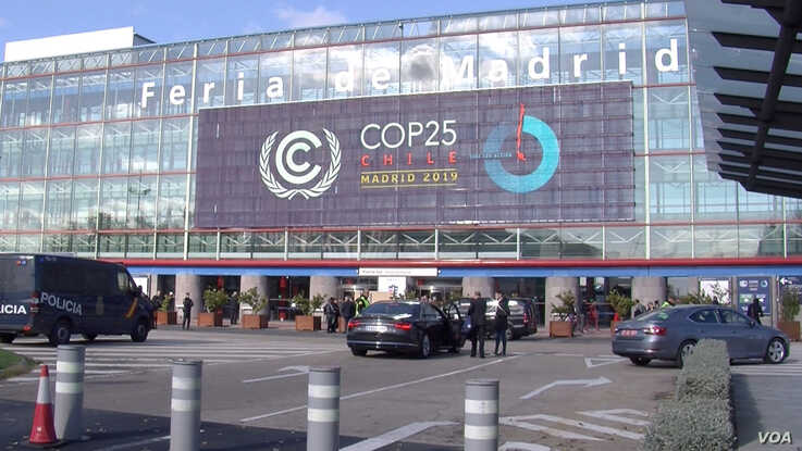 The COP 25 conference center is seen in Madrid. (Lisa Bryant/VOA)