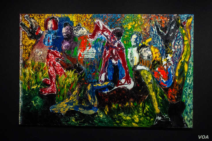 """An oil on canvas painting by Senegalese artist Soly Cissé titled """"Comme des héros"""" is displayed at Dakar's Museum of Black Civilizations. (Photo: A. Hammerschlag/VOA)"""