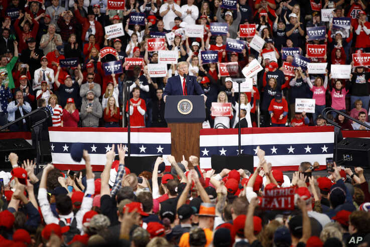 President Donald Trump speaks during a campaign rally in Hershey, Pennsylvania, Dec. 10, 2019.
