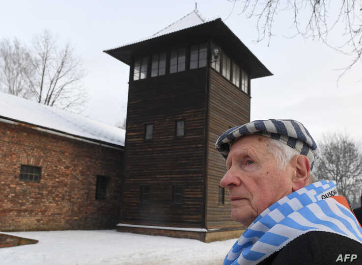 Former prisoner Stanislaw Zalewski attends the 74th anniversary of the liberation of former German Nazi death camp Auschwitz…