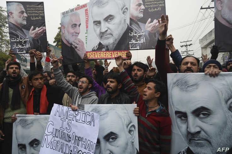 Pakistani Shiite Muslim protest against the killing of top Iranian commander Qasem Soleimani in Iraq, outside the US consulate…