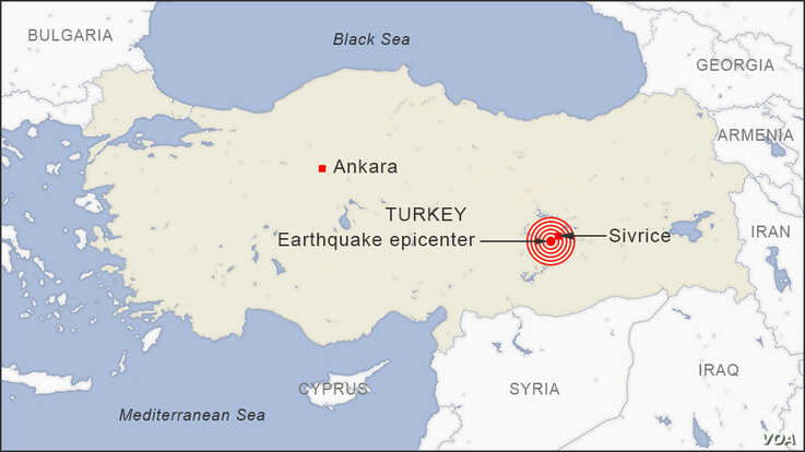 Map of Earthquake near Sivrice, Turkey