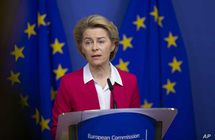 European Commission President Ursula von der Leyen speaks during a media conference after an extraordinary meeting of the EU…