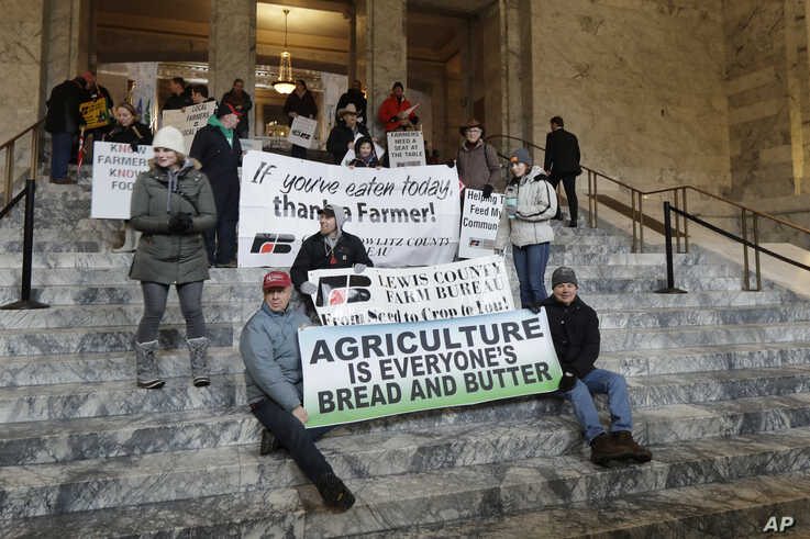 Farmers and other supporters hold signs Jan. 13, 2020, at the Capitol in Olympia, Wash., during a day to raise…