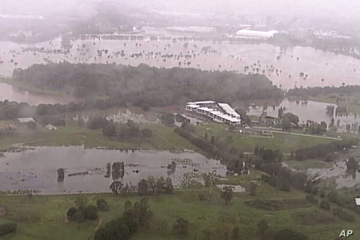 This image from a video, shows flooded fields on Gold Coast, Australia, Jan. 18, 2020.