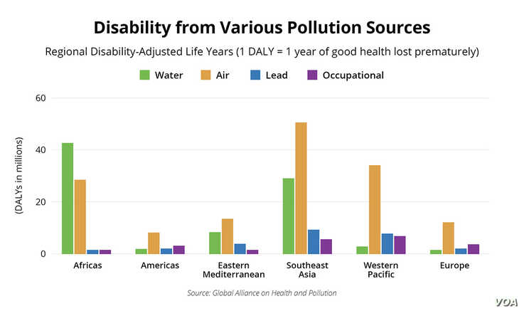 Disability from Various Pollution Sources