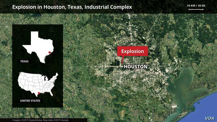 Map showing location in Houston, Texas, where a Jan. 24, 2020 explosion leveled a warehouse, killing two workers