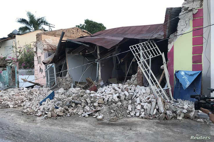 A home is seen collapsed after an earthquake in Guanica, Puerto Rico Jan. 7, 2020.