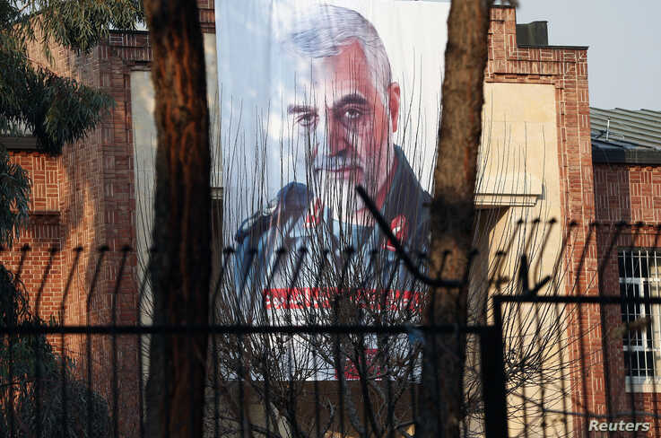 A picture of Iranian Major-General Qassem Soleimani, head of the elite Quds Force, who was killed in an air strike at Baghdad…
