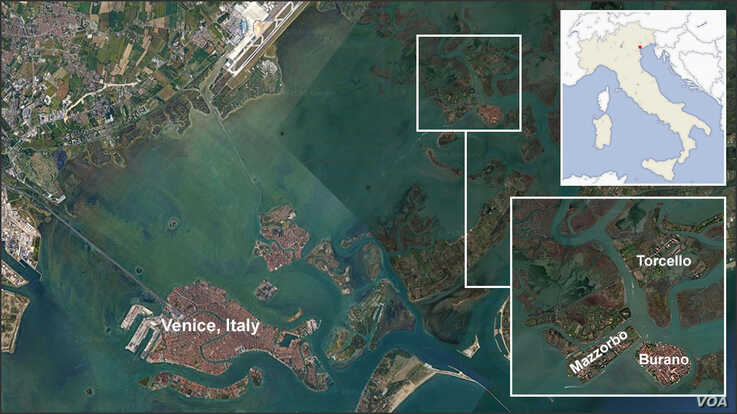 Map of Venice, Italy, showing the islands of Burano, Mazzorbo and Torcello