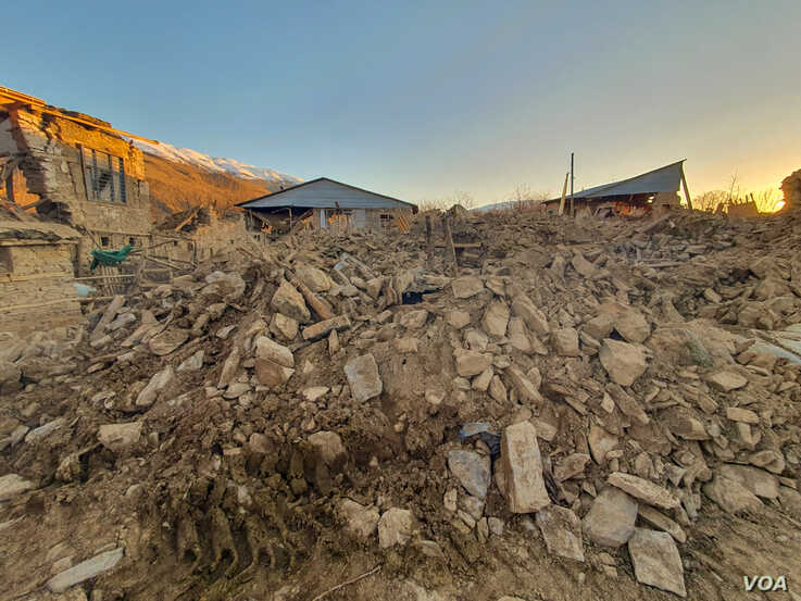 Some of the damage to the village Cevrimtas near the lakeside town of Sivrice where the 6.8 magnitude quake was centered in the province of Elazig.