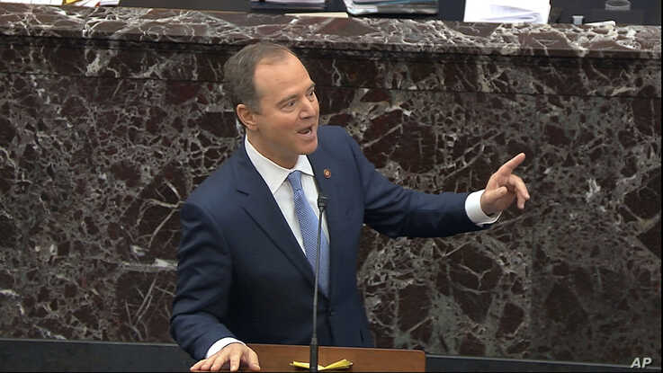 In this image from video, impeachment manager Rep. Adam Schiff speaks during the impeachment trial of President Donald Trump, in the Senate, at the Capitol in Washington, Jan. 21, 2020.