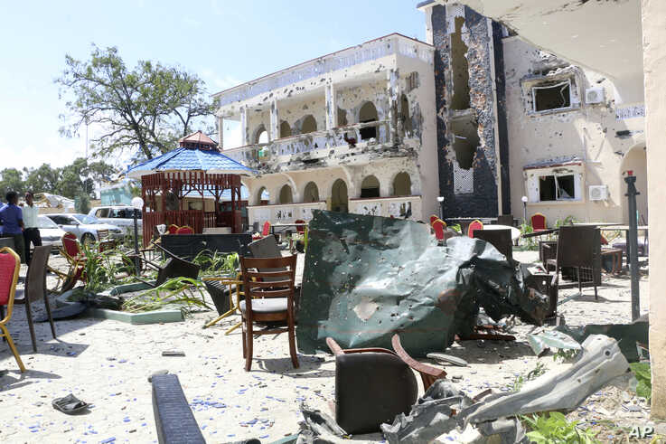 A view of Asasey Hotel after an attack, in Kismayo, Somalia, July 13, 2019.