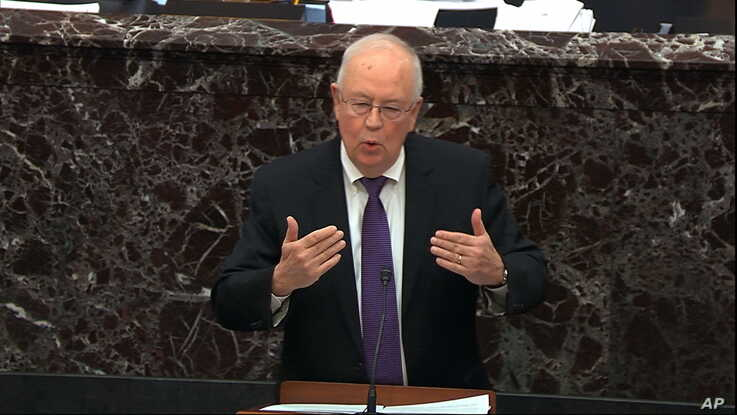 In this image from video, Kenneth Starr, an attorney for President Donald Trump, speaks during Trump's impeachment trial in the Senate at the Capitol in Washington, Jan. 27, 2020.
