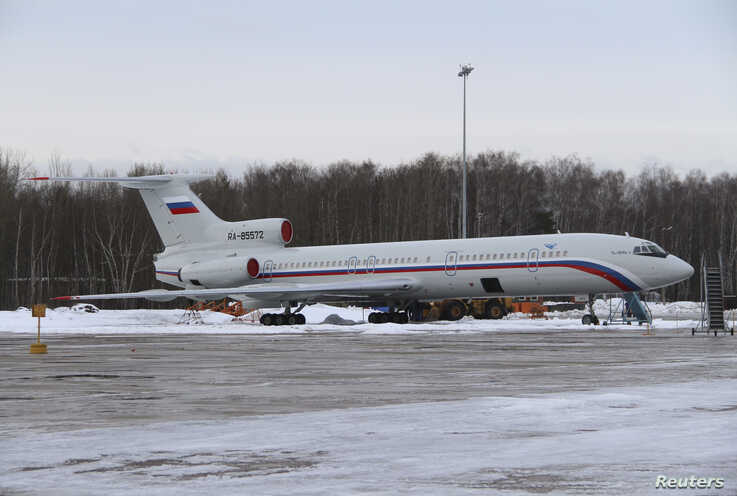 FILE - A Tupolev Tu-154 stands on the tarmac of the Chkalovsky military airport north of Moscow, Russia, Jan. 15, 2015. A plane similar to this one was used by Russia in the 2017 Washington fly-over.