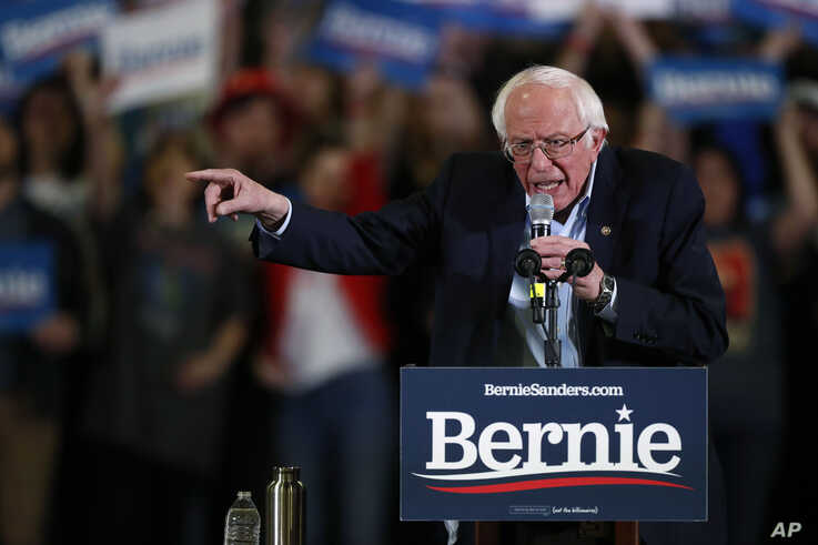 Democratic presidential candidate Sen. Bernie Sanders, I-Vt., makes a point during a campaign stop late Feb. 16, 2020.