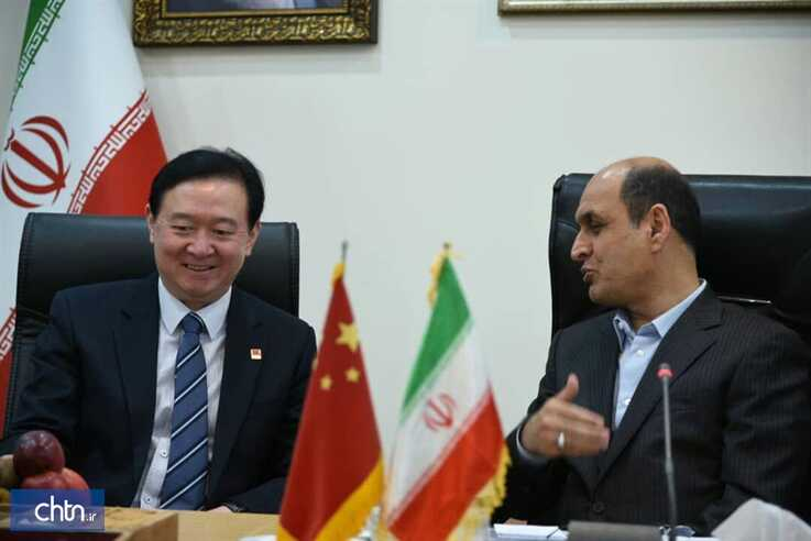 Chinese Ambassador to Iran Chang Hua (left) meets the governor of Iran's Golestan province Hadi Haqshenas on a visit to Golestan
