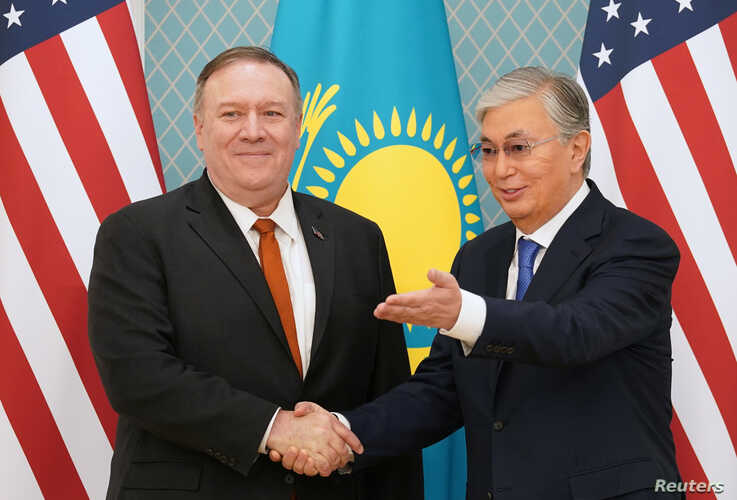 U.S. Secretary of State Mike Pompeo meets Kazakh President Kassym-Jomart Tokayev at the Akorda presidential residence in Nur…