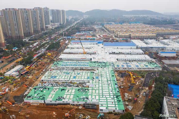 An aerial view shows the newly completed Huoshenshan Hospital, a dedicated hospital built in 8 days to treat coronavirus…