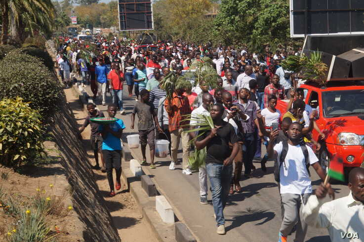 Since the announcement of the May elections, opposition supporters have staged protests about the election of President Peter Mutharika. (Lameck Masina/VOA)