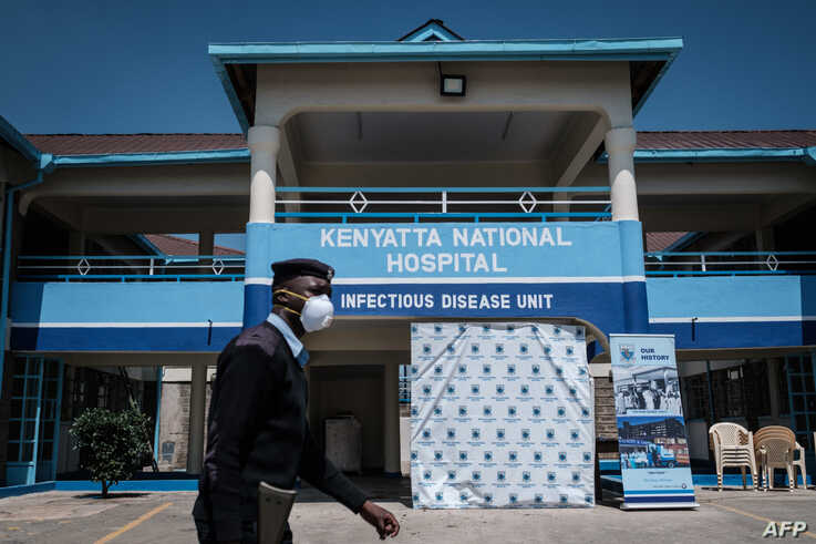 A picture taken on March 15, 2020 shows the entrance of the Infectious Disease Unit of Kenyatta National Hospital in Nairobi,…
