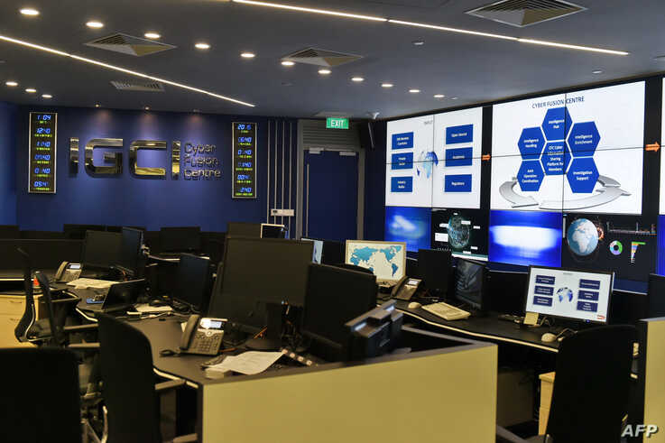 An interior view of the Interpol Global Complex for Innovation (IGCI) cyber fusion centre at its newly built building is seen…