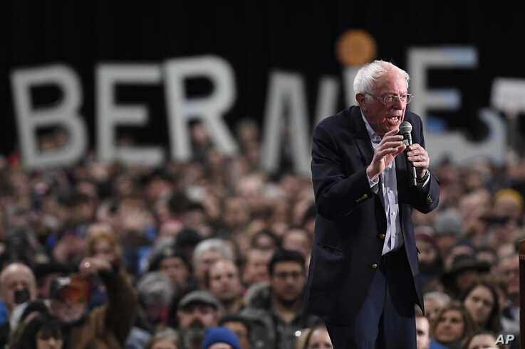 Democratic presidential candidate Sen. Bernie Sanders, I-Vt., speaks during a campaign event, Feb. 28, 2020
