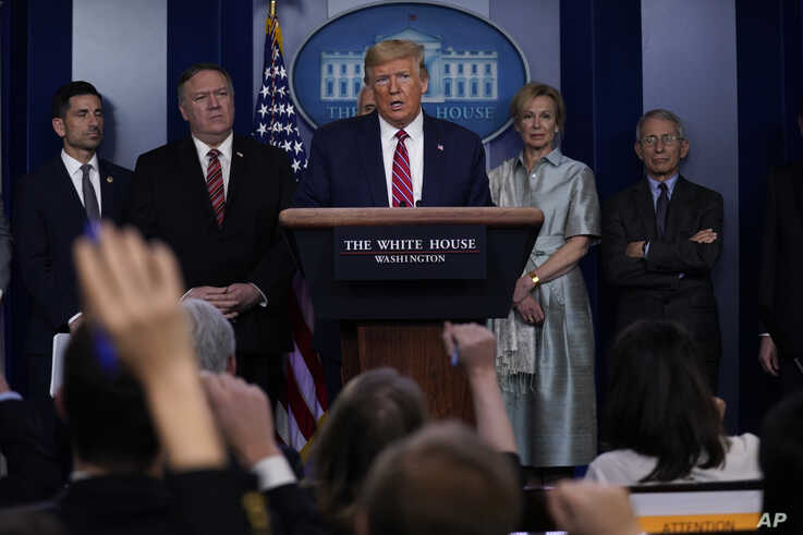 President Donald Trump speaks during a coronavirus task force briefing at the White House, Friday, March 20, 2020, in…