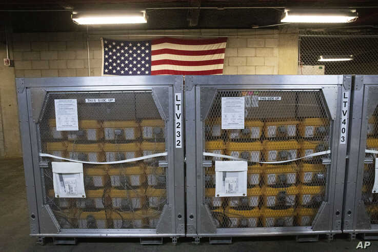 Cages of ventilators, part of a shipment of 400, arrived Tuesday, March 24, 2020 at the New York City Emergency Management…
