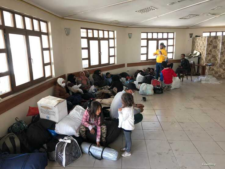 Some families shelter inside the bus station. Large aid organizations cannot help them because workers are required to stay at home because of the coronavirus on March 20, 2020 in Istanbul. (Courtesy of aid workers)