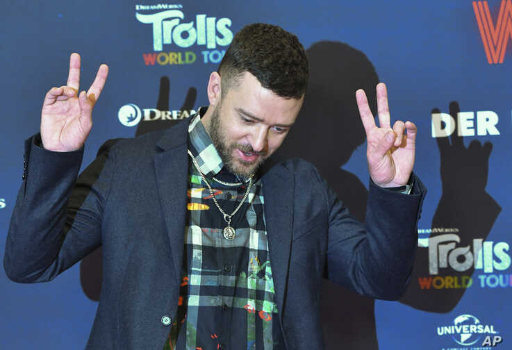 Justin Timberlake attends a photo-call for the movie 'Trolls World Tour' in Berlin, Germany, Feb. 17, 2020.