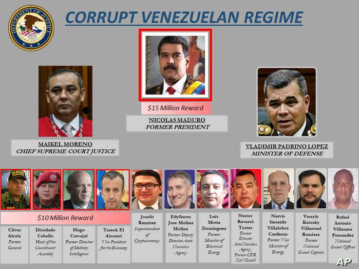 This image provided by the U.S. Department of Justice shows a poster of Venezuelan leaders, March 26, 2020. The U.S. Justice Department has indicted Venezuela's socialist leader Nicolás Maduro and several key aides on charges of narcoterrorism.