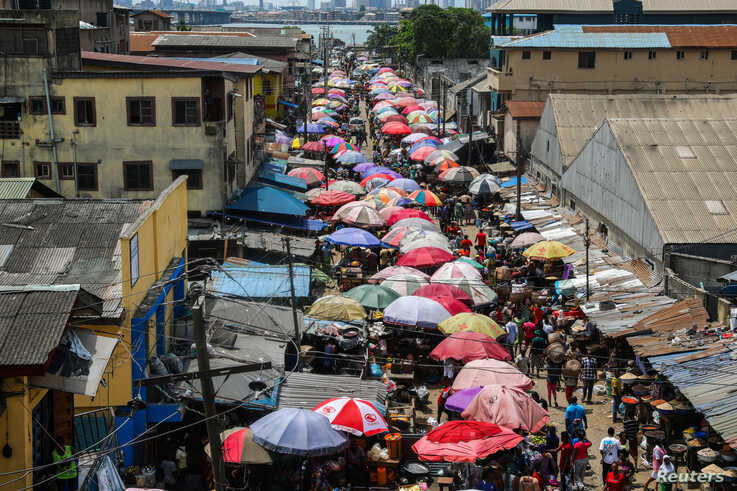 A general view of a food market in Lagos after Nigeria's President Muhammadu Buhari called for a lockdown starting tonight to limit the spread of coronavirus disease (COVID-19), March 30, 2020.
