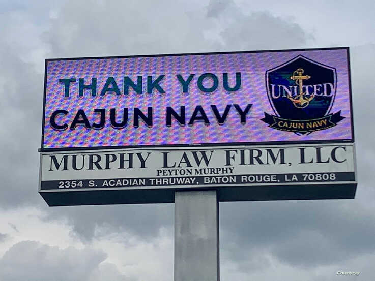 A sign in Baton Rouge thanks the United Cajun Navy