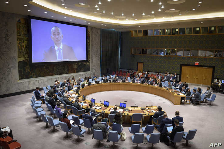 In this May 22, 2019, image obtained from the UN, Nickolay Mladenov (on screen), Special Coordinator for the Middle East Peace…