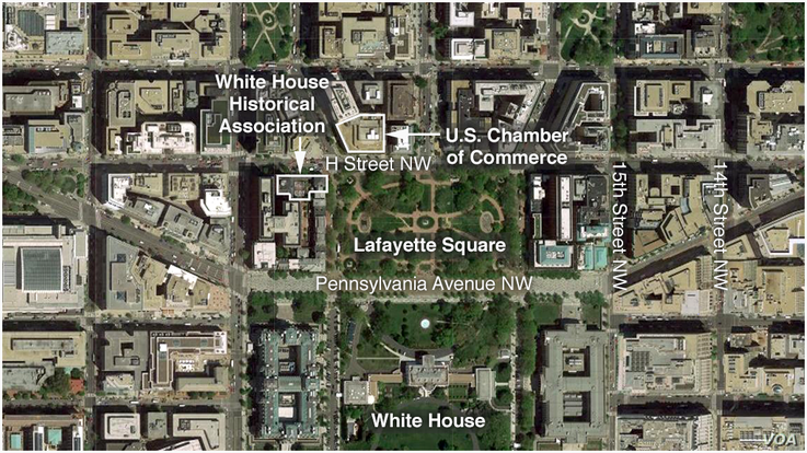 Map of The White House, also showing Lafayette Square, the White House Historical Association and the U.S. Chamber of Commerce
