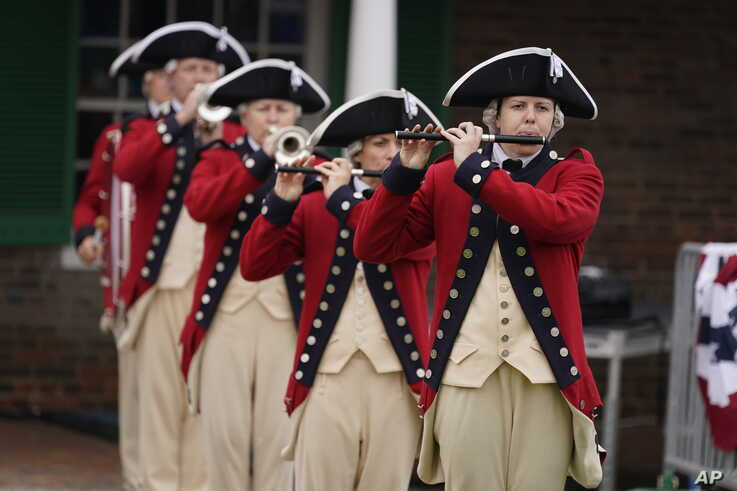 A fife and drums corps plays at a Memorial Day ceremony at Fort McHenry National Monument and Historic Shrine, in Baltimore, Maryland, May 25, 2020.