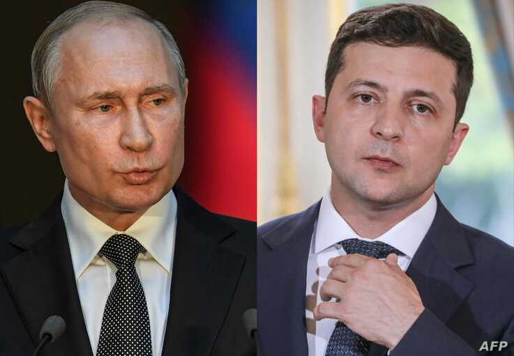 (COMBO) This combination of pictures created on July 11, 2019 shows Russian President Vladimir Putin (L) speaking during a press conference at palazzo Chigi in Rome on July 4, 2019. And Ukraine's President Volodymyr Zelensky during a press…